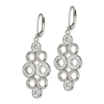 Stainless Steel Polished w/Preciosa Crystal Leverback Dangle Earrings