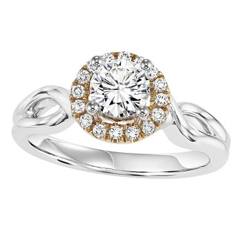 14K Diamond Engagement Ring 1/10 ctw with 5/8 ct Center