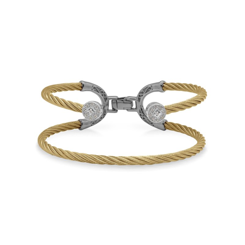 ALOR Yellow Cable Balance Bracelet with 18kt White Gold & Dual Round Diamond Stations