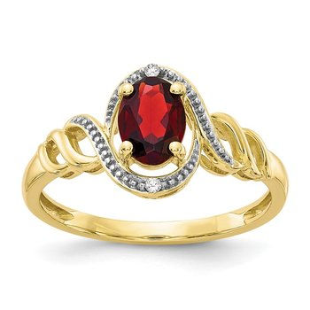 10K Garnet and Diamond Ring
