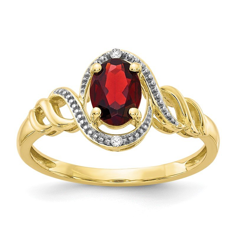 Quality Gold 10K Garnet and Diamond Ring