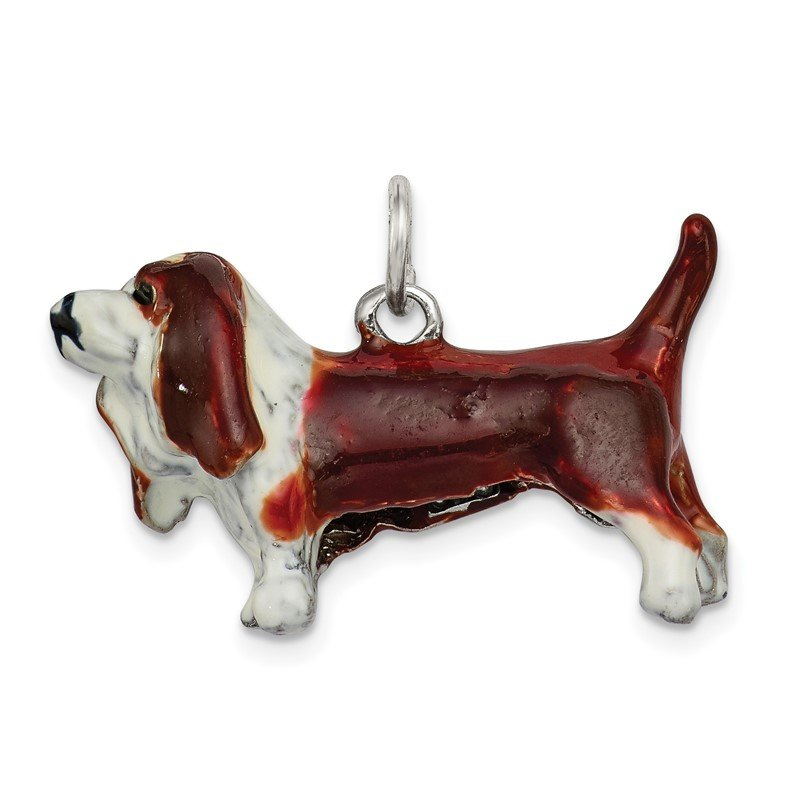 Quality Gold Sterling Silver Enameled Basset Hound Charm