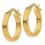 Quality Gold 14K Small 3mm Diamond Cut Edge Polished Hoop Earrings