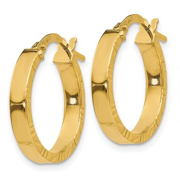 14K Small 3mm Diamond Cut Edge Polished Hoop Earrings