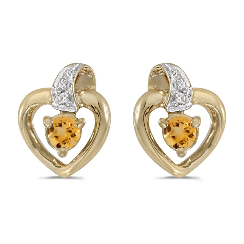 Color Merchants 14k Yellow Gold Round Citrine And Diamond Heart Earrings