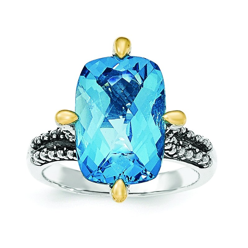 Shey Couture Sterling Silver w/14k Lt Swiss Blue Topaz Ring