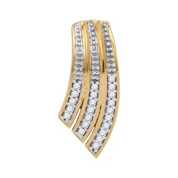 10kt Yellow Gold Womens Round Diamond Cascading Fashion Pendant 1/20 Cttw