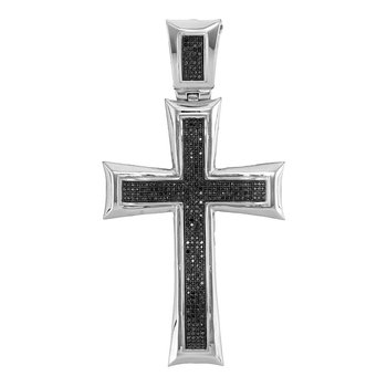 10kt White Gold Mens Round Black Color Enhanced Diamond Flared Pattee Roman Cross Charm Pendant 1.00 Cttw