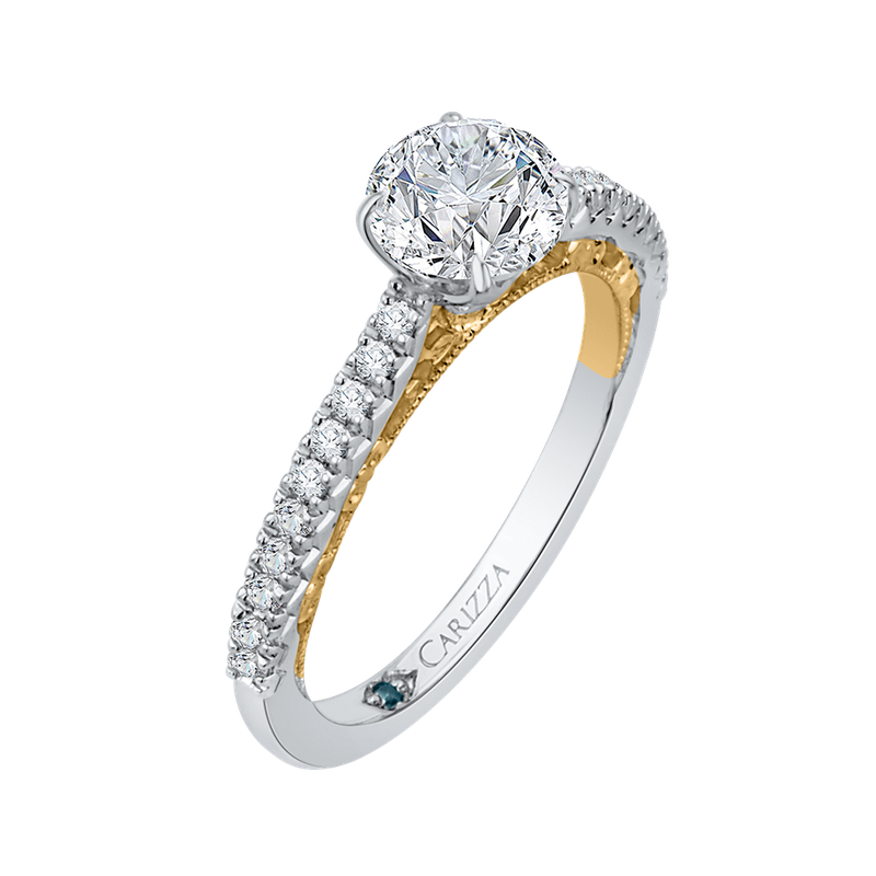 Carizza Round Diamond Engagement Ring In 14K Two-Tone Gold (Semi-Mount)