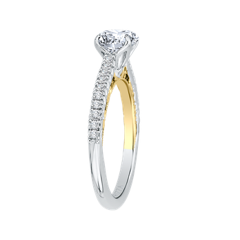 Round Diamond Engagement Ring In 14K Two-Tone Gold (Semi-Mount)