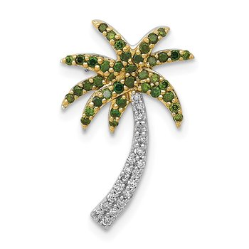 14k White Gold White and Green Diamond Palm Tree Chain Slide