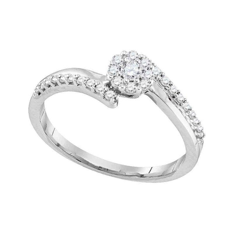 Gold-N-Diamonds, Inc. (Atlanta) 10kt White Gold Womens Round Diamond Cluster Bridal Wedding Engagement Ring 1/4 Cttw