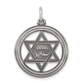 Sterling Silver Antiqued Star of David Disc Charm