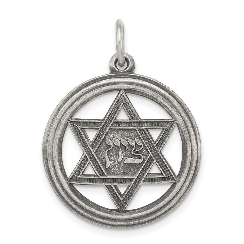 Quality Gold Sterling Silver Antiqued Star of David Disc Charm