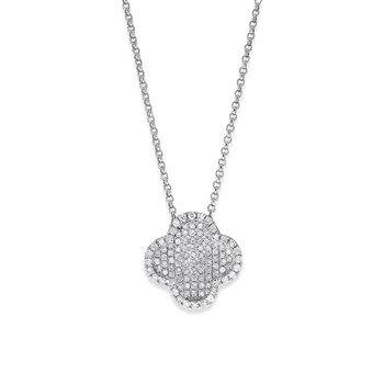 Diamond Clover Necklace in 14K White Gold with 102 Diamonds weighing .34ct tw.