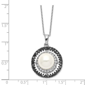 Sterling Silver Majestik Rhod-plated 10-11mm Shell Blk/Wht CZ Necklace