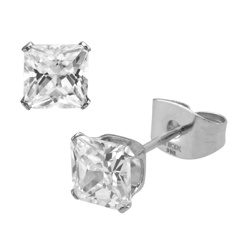 INOX Clear Square CZ Prong Set Stud Earrings