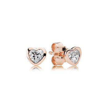 Heart PANDORA Rose stud earrings with cubic zirconia