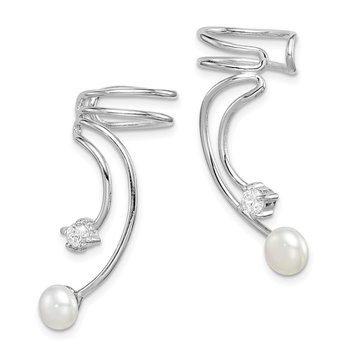 Sterling Silver Rhodium-plated CZ and FWC 5 to 6mm Pearl Cuff Earrings