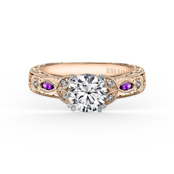 Engraved Amethyst Leaf Diamond Engagement Ring