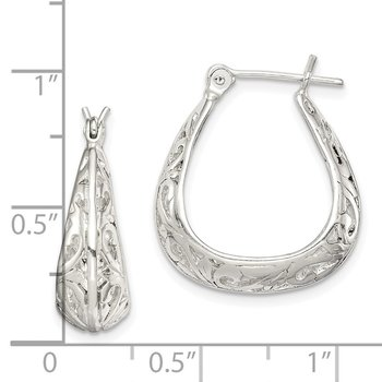 Sterling Silver Polished Swirl Design Hoop Earrings