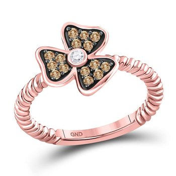 10kt Rose Gold Womens Round Red Color Enhanced Diamond Flower Petals Ring 1/4 Cttw