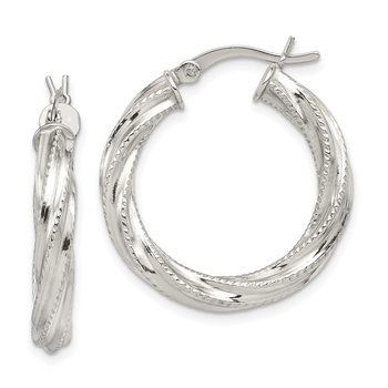 Sterling Silver Patterned Twisted 4x25mm Hoop Earrings