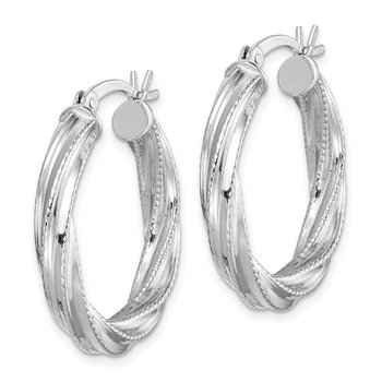 Sterling Silver Patterned Twist 4x25mm Hoop Earrings