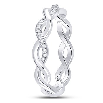 10kt White Gold Womens Round Diamond Fashion Braid Band Ring 1/10 Cttw