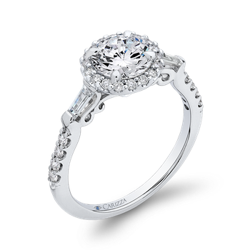 18K White Gold Round Diamond Halo Engagement Ring (Semi-Mount)
