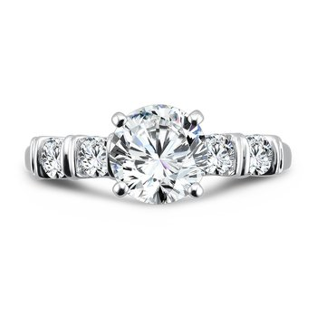 Modernistic Collection Engagement Ring With Bar-Set Diamond Side Stones in 14K White Gold with Platinum Head (1-1/2ct. tw.)