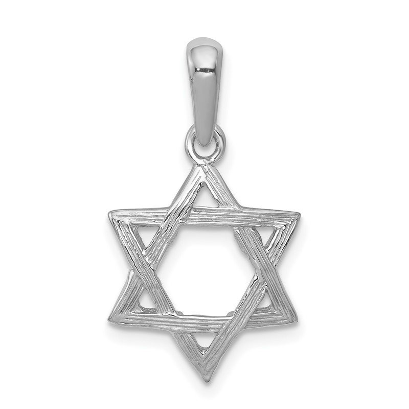 Quality Gold 14k White Gold Star Of David Pendant