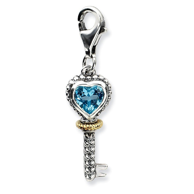 Shey Couture Sterling Silver w/14k Blue Topaz Antique Key w/Lobster Clasp Charm