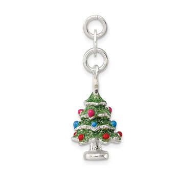 Sterling Silver Enameled Christmas Tree Charm
