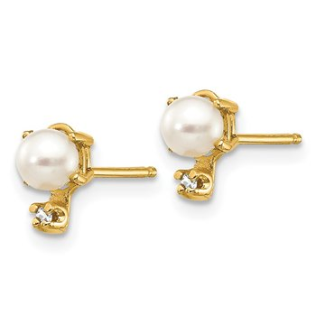 14k Diamond & FW Cultured Pearl Birthstone Earrings