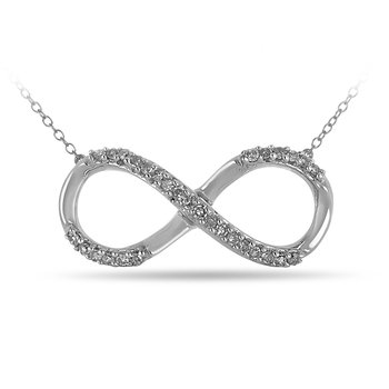 10K WG Diamond Infinity Necklace in Prong Setting
