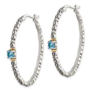 Sterling Silver w/ 14k Light Blue Swiss Topaz Oval Hoop Earrings