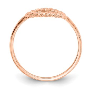 14k Rose Gold Polished & Textured Heart Ring