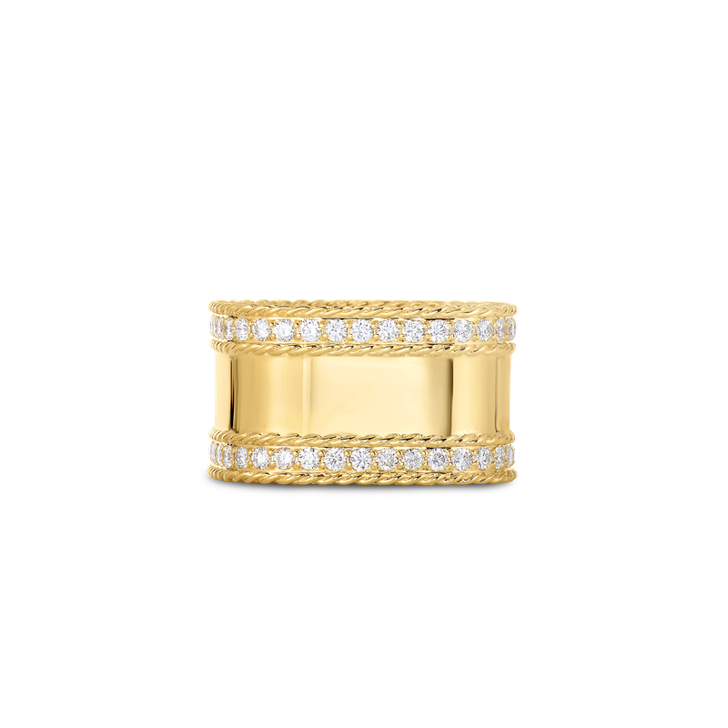 Roberto Coin  #22730 Of 18Kt Gold Ring With Diamond Edges