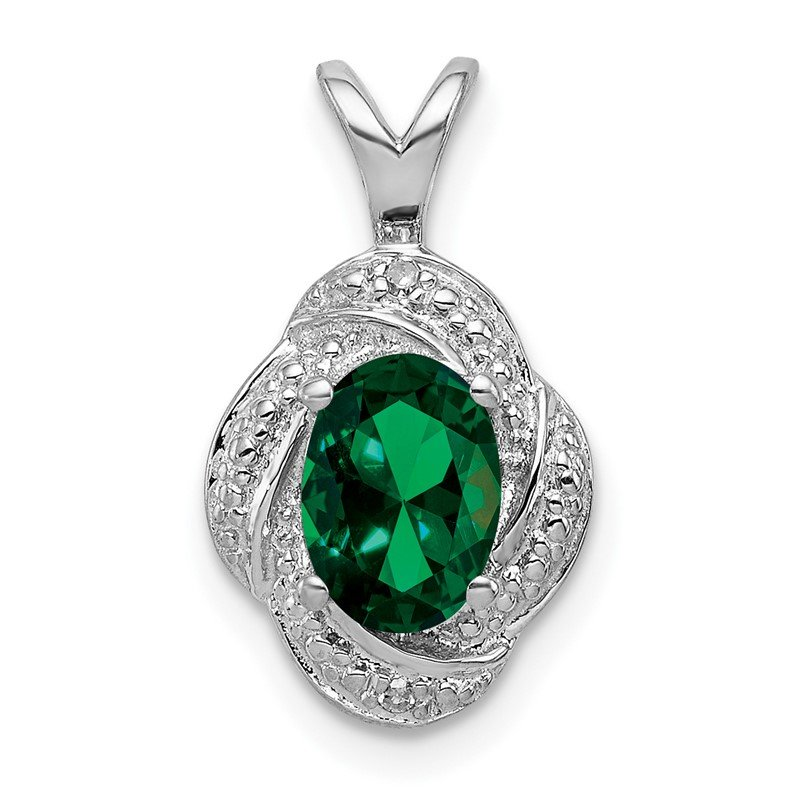Quality Gold Sterling Silver Rhodium-plated Diam. & Created Emerald Pendant