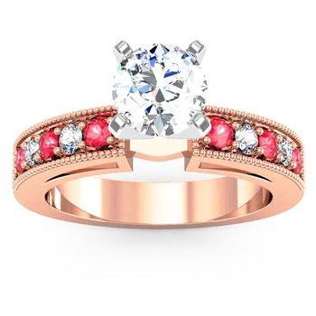 Milgrain Pave Diamond & Ruby Engagement Ring