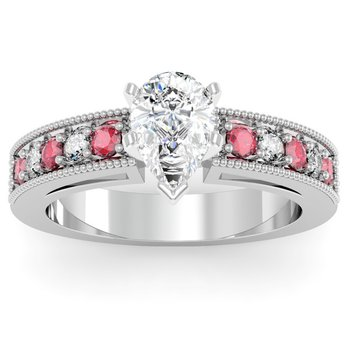 Milgrain Pave Diamond & Ruby Engagement Ring