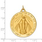 Quality Gold 14k Solid Polished/Satin Large Round Miraculous Medal
