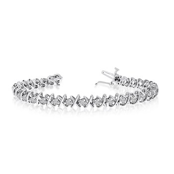 14K White Gold X&O 4.00ctw Round Diamond Bracelet