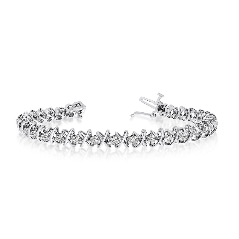 Color Merchants 14K White Gold X&O 4.00ctw Round Diamond Bracelet