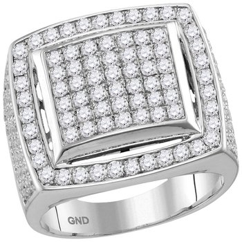 10kt White Gold Mens Round Prong-set Diamond Square Frame Cluster Ring 3.00 Cttw