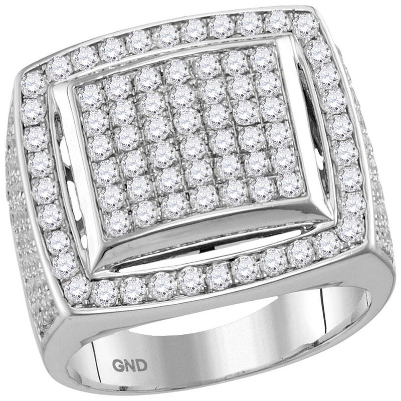 Kingdom Treasures 10kt White Gold Mens Round Prong-set Diamond Square Frame Cluster Ring 3.00 Cttw