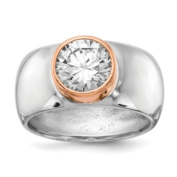 Cheryl M Sterling Silver Rose Gold-Plated CZ Ring