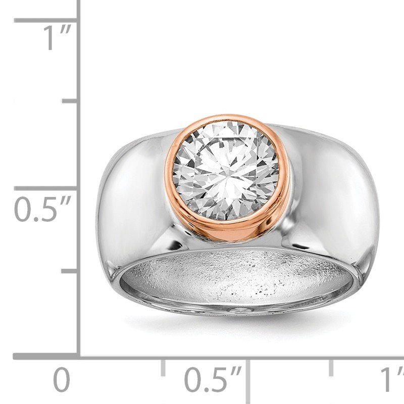 Cheryl M Cheryl M Sterling Silver Rose Gold-Plated & Rhodium-plated CZ Ring