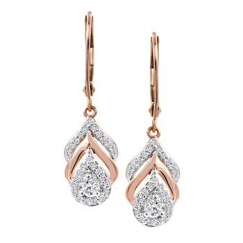 Feather Diamond Drop Earrings